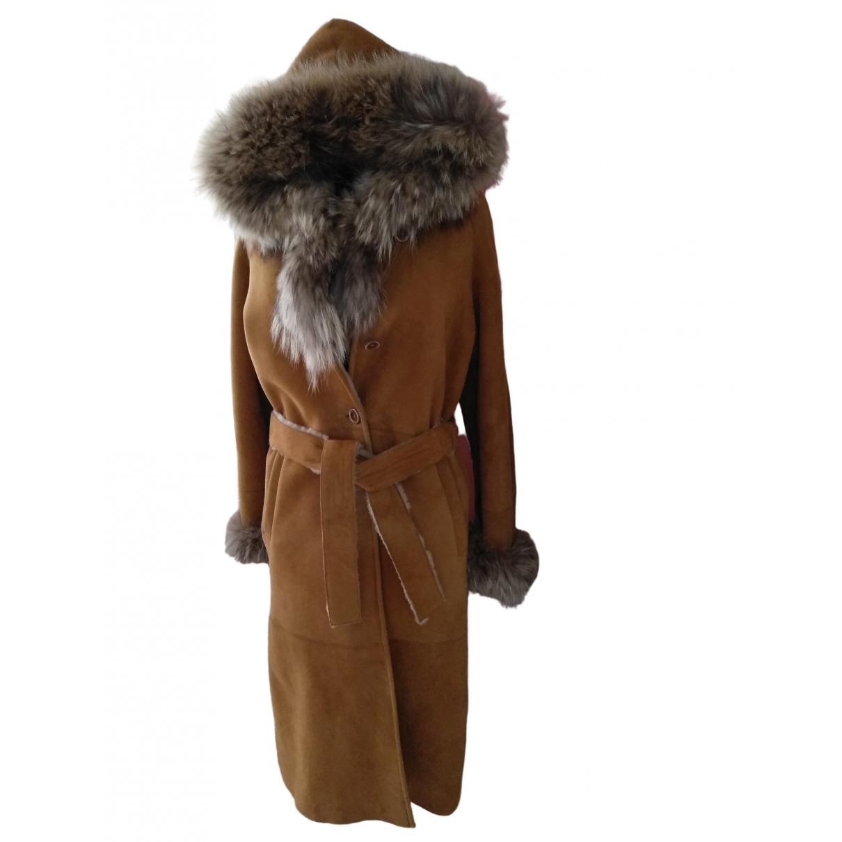 Shearling \N Camel Suede coat for Women 44 IT