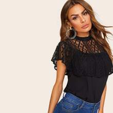 Lace Yoke Ruffle Embellished Top