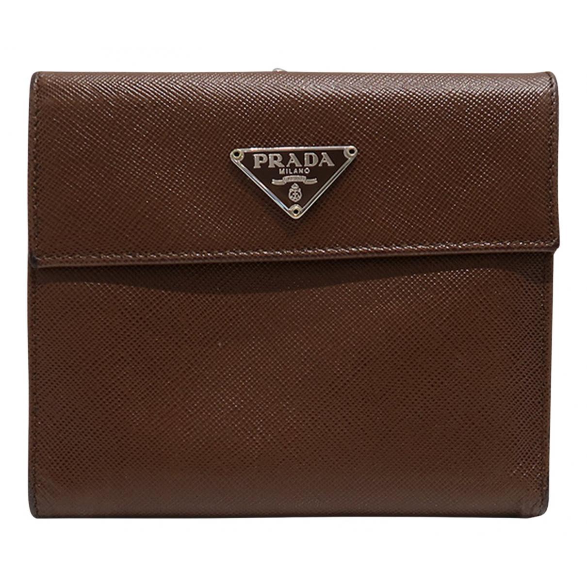 Prada - Portefeuille   pour femme en cuir - marron