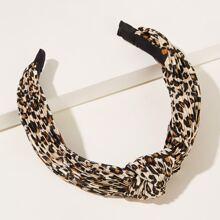 Haarband mit Leopard Muster und Knoten Dekor