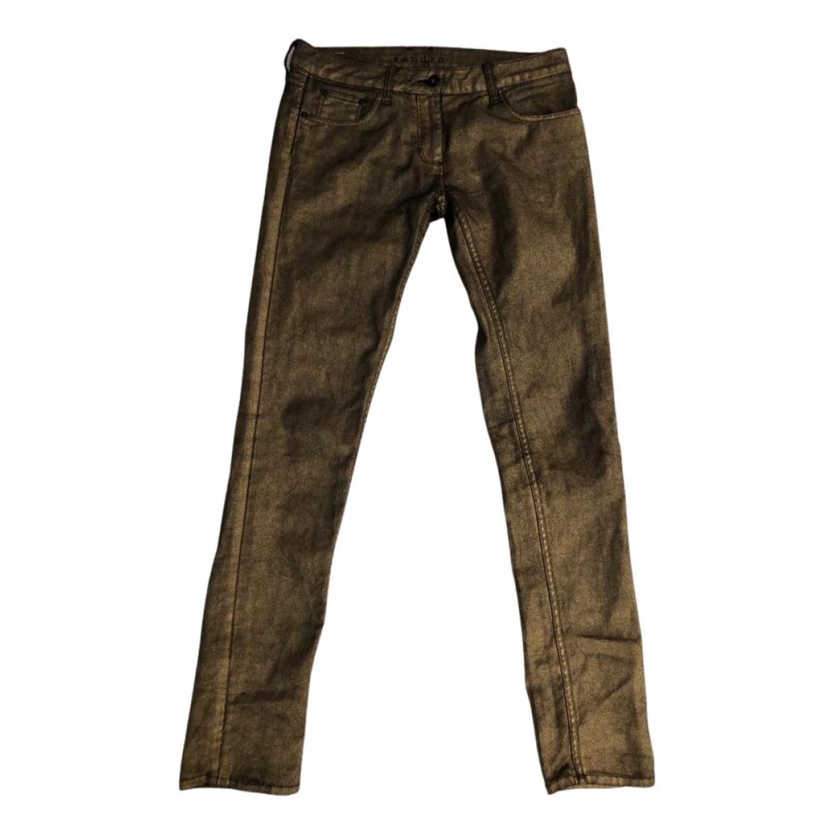 Sandro N Gold Cotton Trousers for Women 38 FR