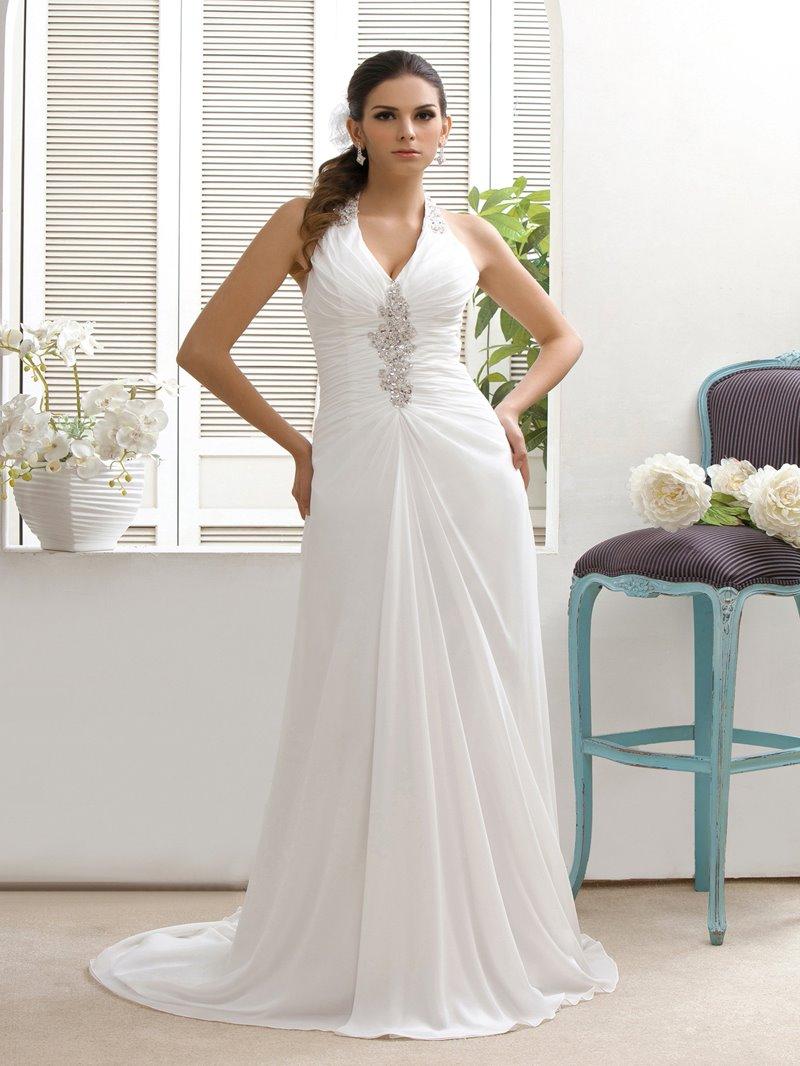 Ericdress Sheath Beading Halter Beach Wedding Dress