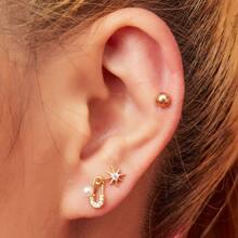 3pairs Faux Pearl & Star Decor Earrings
