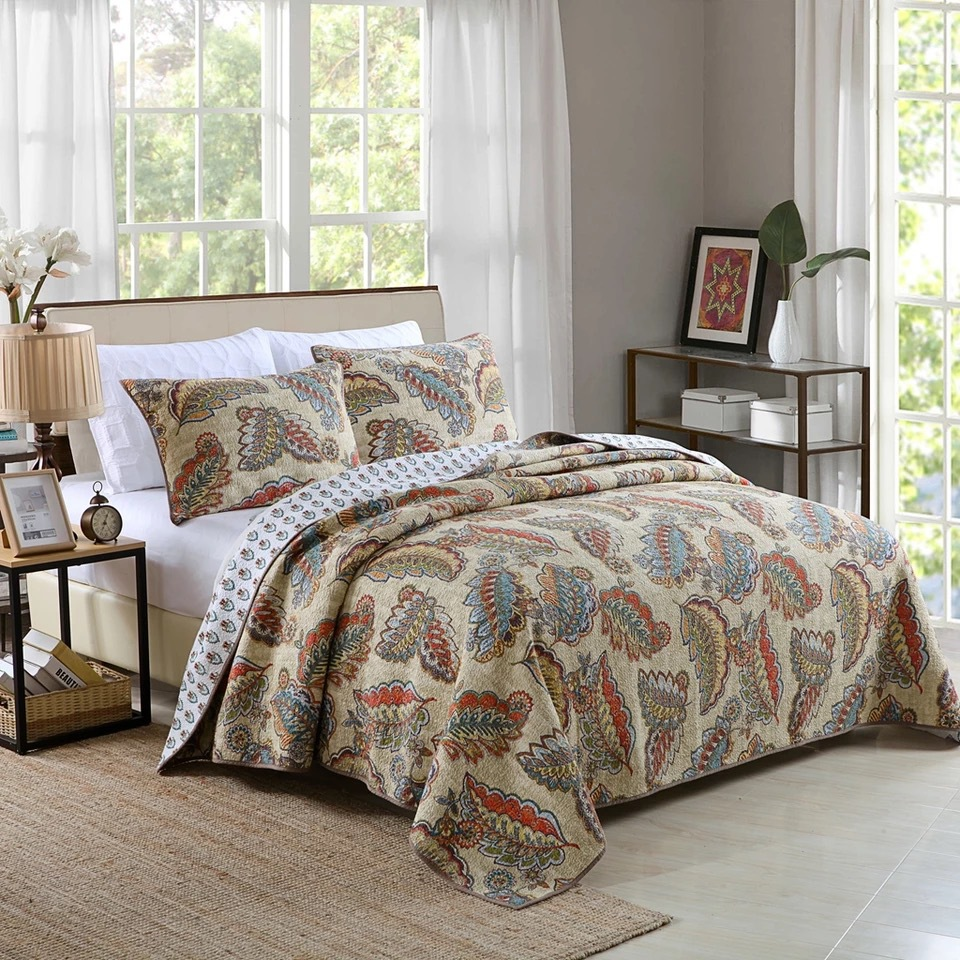 Luxurious Leaves Print 3-Piece Cotton Bed in a Bag