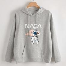 Plus Letter & Astronaut Print Hoodie