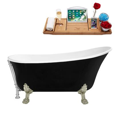 N344BNK-CH 59 Clawfoot Tub and Tray  External Drain and Brushed Nickel Feet  in Black and White