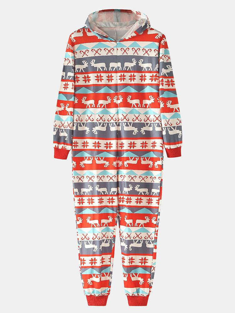 Men Christmas Elements Elk Print Family Sets Casual One-Piece Loungewear Jumpsuit Men