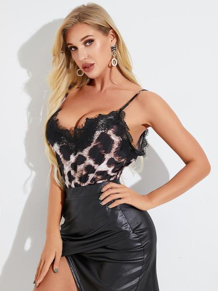 YOINS Leopard Lace Insert Sleeveless Cami