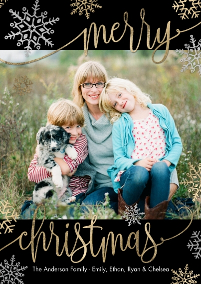 Christmas Photo Cards 5x7 Cards, Premium Cardstock 120lb with Rounded Corners, Card & Stationery -Christmas Merry Script Snowflakes