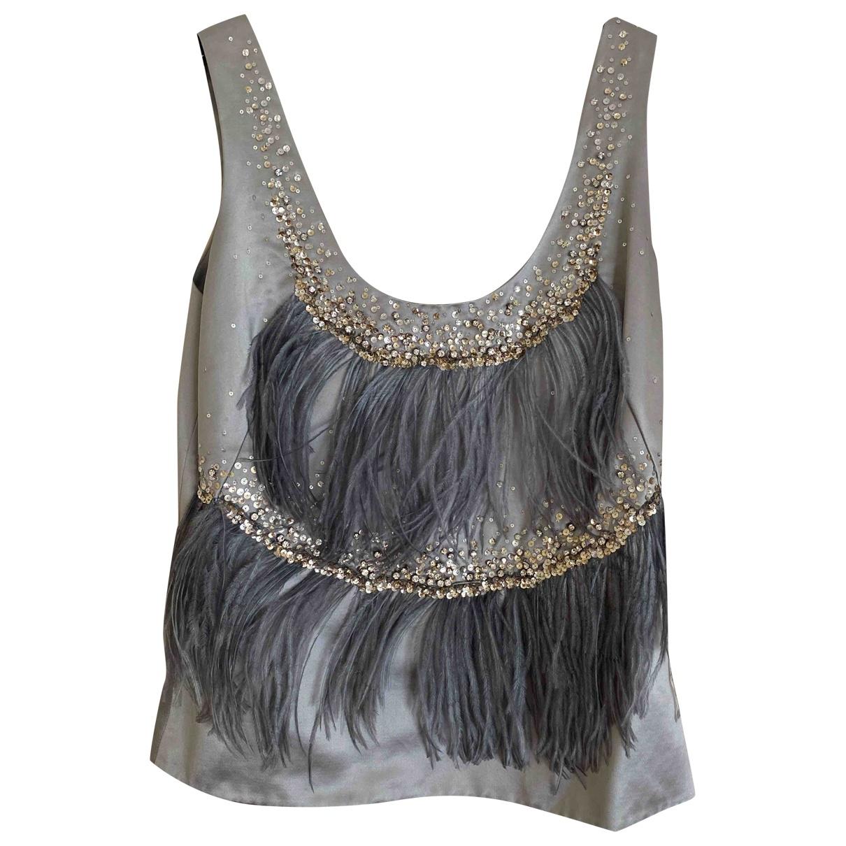 Dior - Top   pour femme en coton - gris