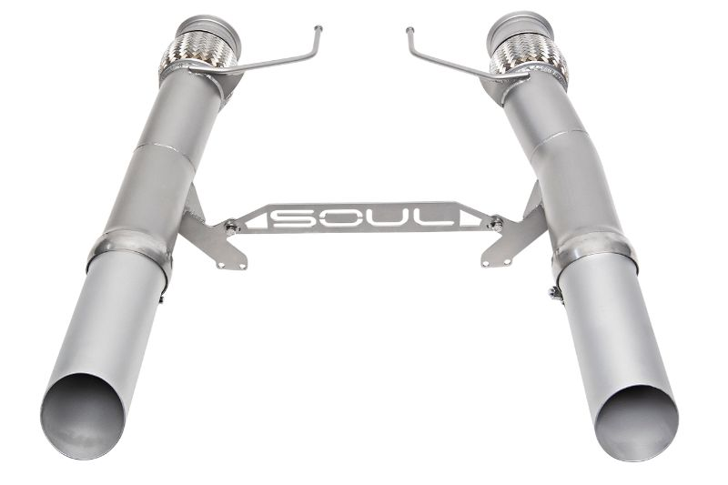 Soul Performance Competition Exhaust Slash Cut Silver Ceramic Tips OEM Downpipes McLaren 720S 17-20
