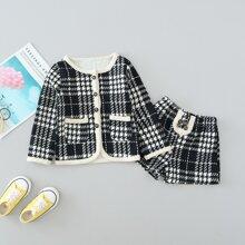Tweed Jacke mit Karo Muster, doppelten Taschen & Shorts