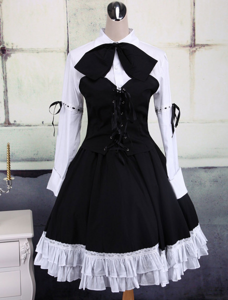 Milanoo Cotton White And Black Long Sleeves Punk Lolita Blouse And Skirt