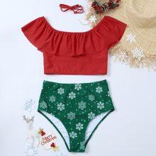 Bikini Badeanzug mit Schneeflocke Muster, Rueschen und hoher Taille
