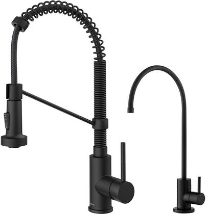 KPF1610FF100MB KRAUS Bolden Commercial Style Pull-Down Kitchen Faucet and Purita Water Filter Faucet Combo in Matte