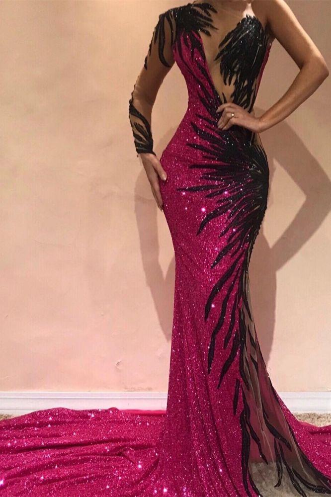 Robes de soiree sexy sirene   Robe de concours a manches longues et dos ouvert