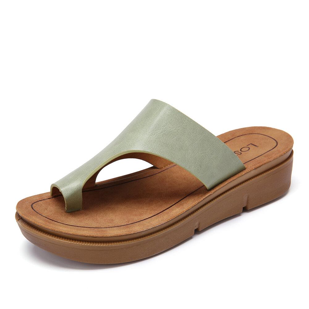 Women Casual Comfy Clip Toe Sold Color Platform Slippers