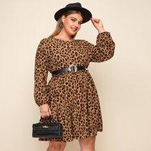 Plus Leopard Print Frill Trim Smock Dress Without Belt