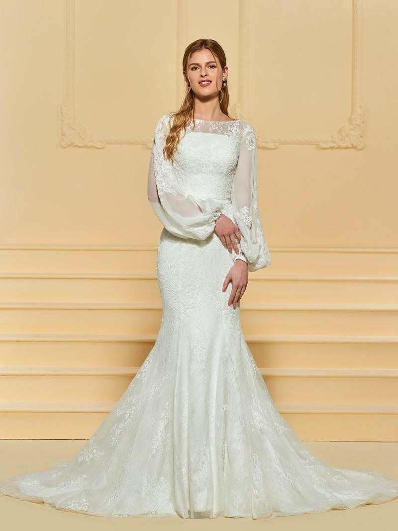 Ericdress Mermaid Lace Long Sleeves Wedding Dress