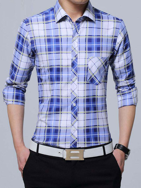 Milanoo Camisas casuales de algodon de cuello vuelto con manga larga con dibujo de cuadros Business casualOtoño