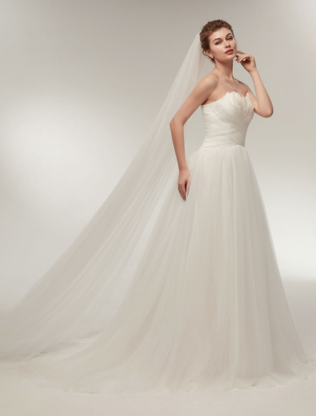 Milanoo Strapless Wedding Dresses Ivory Sweetheart Neckline Bridal Gown Feathers Tulle Wedding Gown With Train
