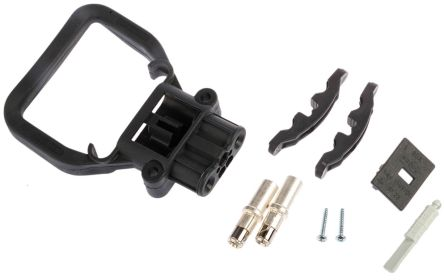 Rema Black Chassis Mount 2P Industrial Power Socket, Rated At 80.0A, 150.0 V