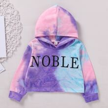 Toddler Girls Letter Graphic Tie Dye Hoodie