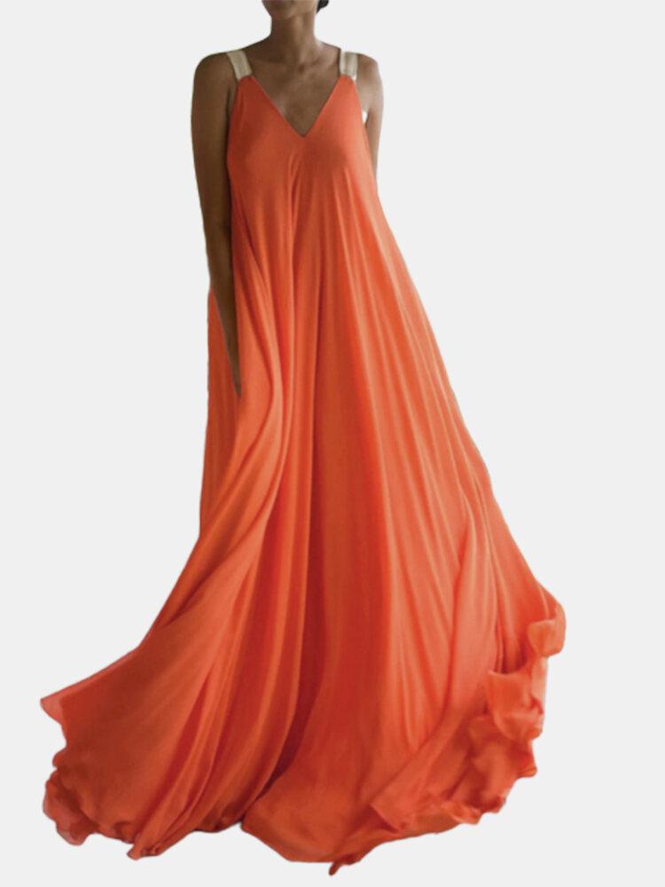 Bohemian Elastic Straps Solid Color Plus Size Maxi Dress