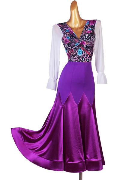 Milanoo Ballroom Dance Costumes Purple Women\s Lycra Spandex Set Top Dance Dress
