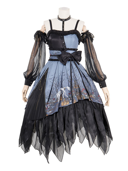 Milanoo Gothic Lolita JSK Dress Rot Forest Bows Lolita Jumper Skirts Outfit
