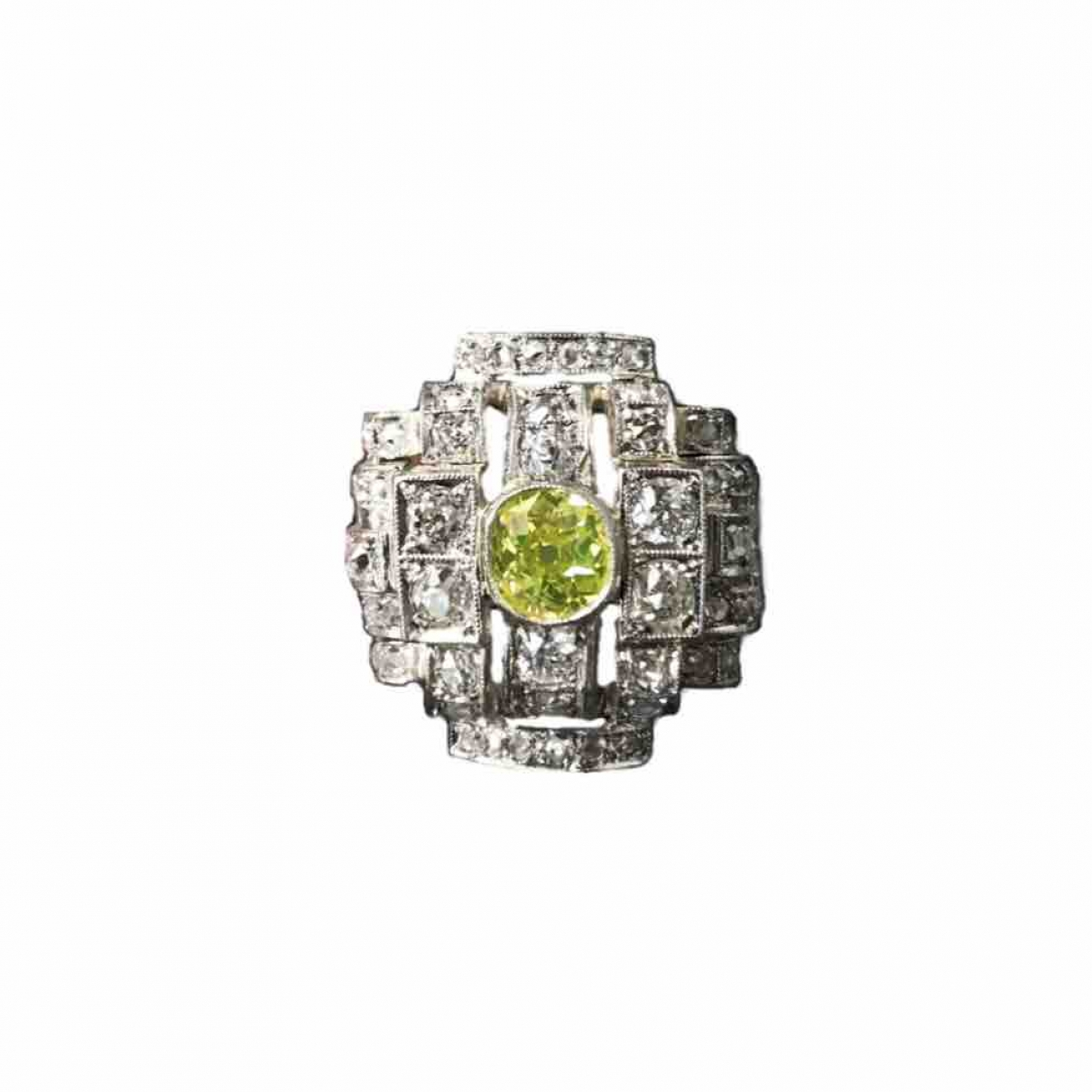 Non Signé / Unsigned Art Déco White Platinum ring for Women 56 MM