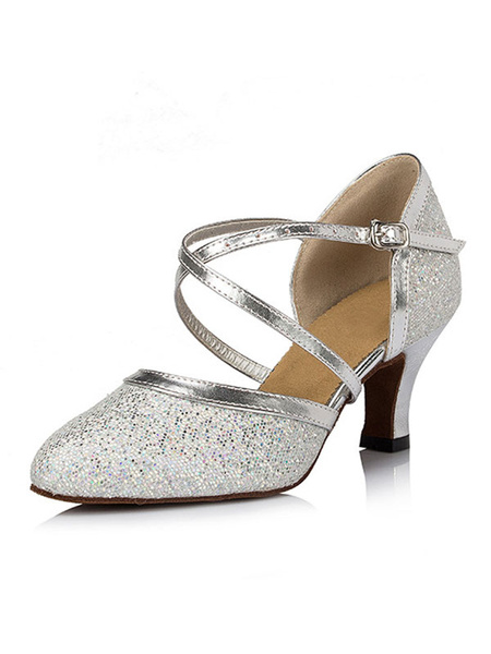 Milanoo Silver Dance Shoes Glitter Pointed Toe Criss Cross Latin Dance Shoes Women Salsa Dance Shoes