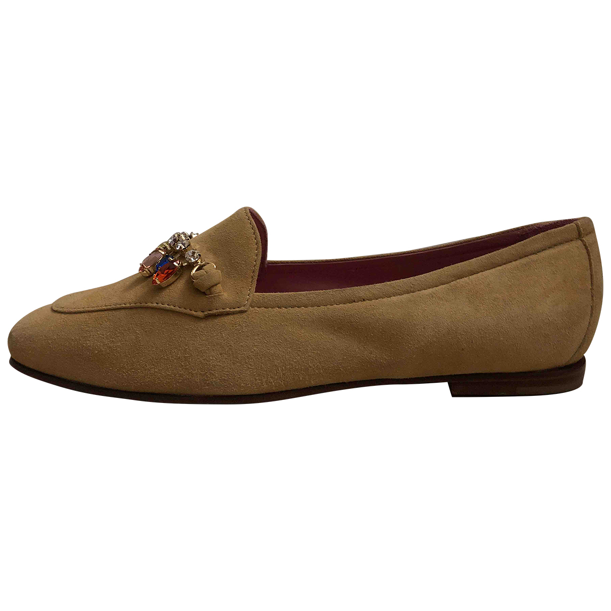Non Signé / Unsigned N Beige Suede Flats for Women 38.5 EU