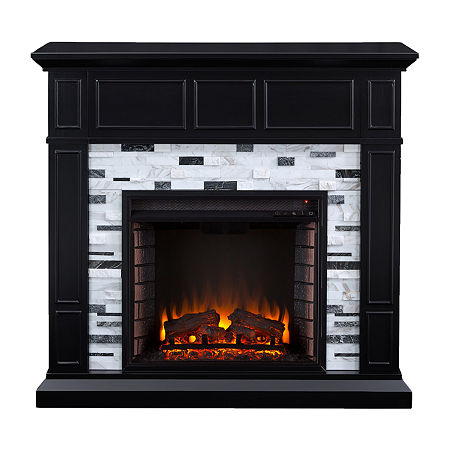 Dadna Marble Electric Fireplace, One Size , Black