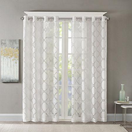 Madison Park Laya Trellis Sheer Grommet-Top Single Curtain Panel, One Size , White