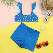 Bikini Badeanzug mit Blumen Muster und Raffungsaum