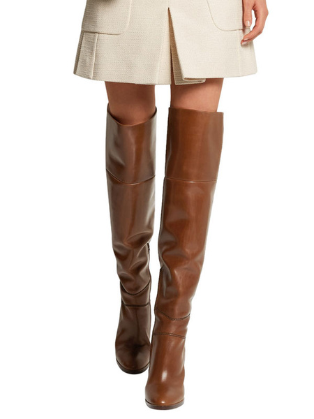 Milanoo Thigh High Boots Womens PU Round Toe Chunky Heel Wide Calf Over The Knee Boots