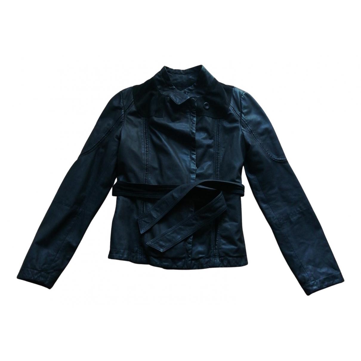 Emporio Armani - Veste   pour femme en cuir - noir