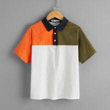 Polo Shirt mit Raglanaermeln und Farbblock