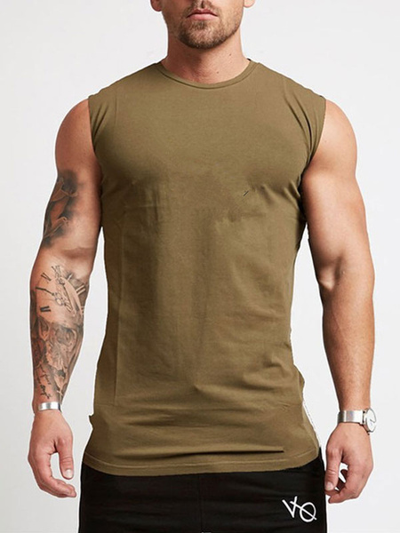 Milanoo Camisetas sin mangas para hombres Camisetas sin mangas con cuello de joya Top de verano negro