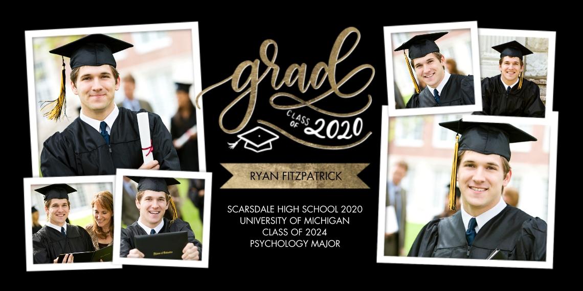 2020 Graduation Announcements 4x8 Flat Card Set, 85lb, Card & Stationery -Grad 2020 Banner Memories by Tumbalina