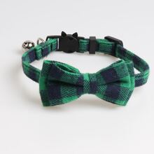 1pc Plaid Cat Collar With Bell