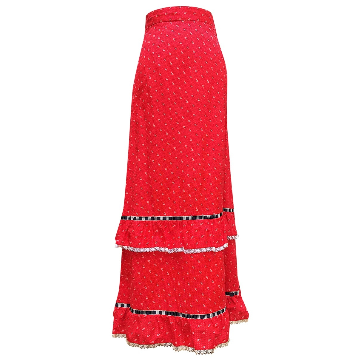 Non Signé / Unsigned Hippie Chic Red Cotton skirt for Women 1 0-5