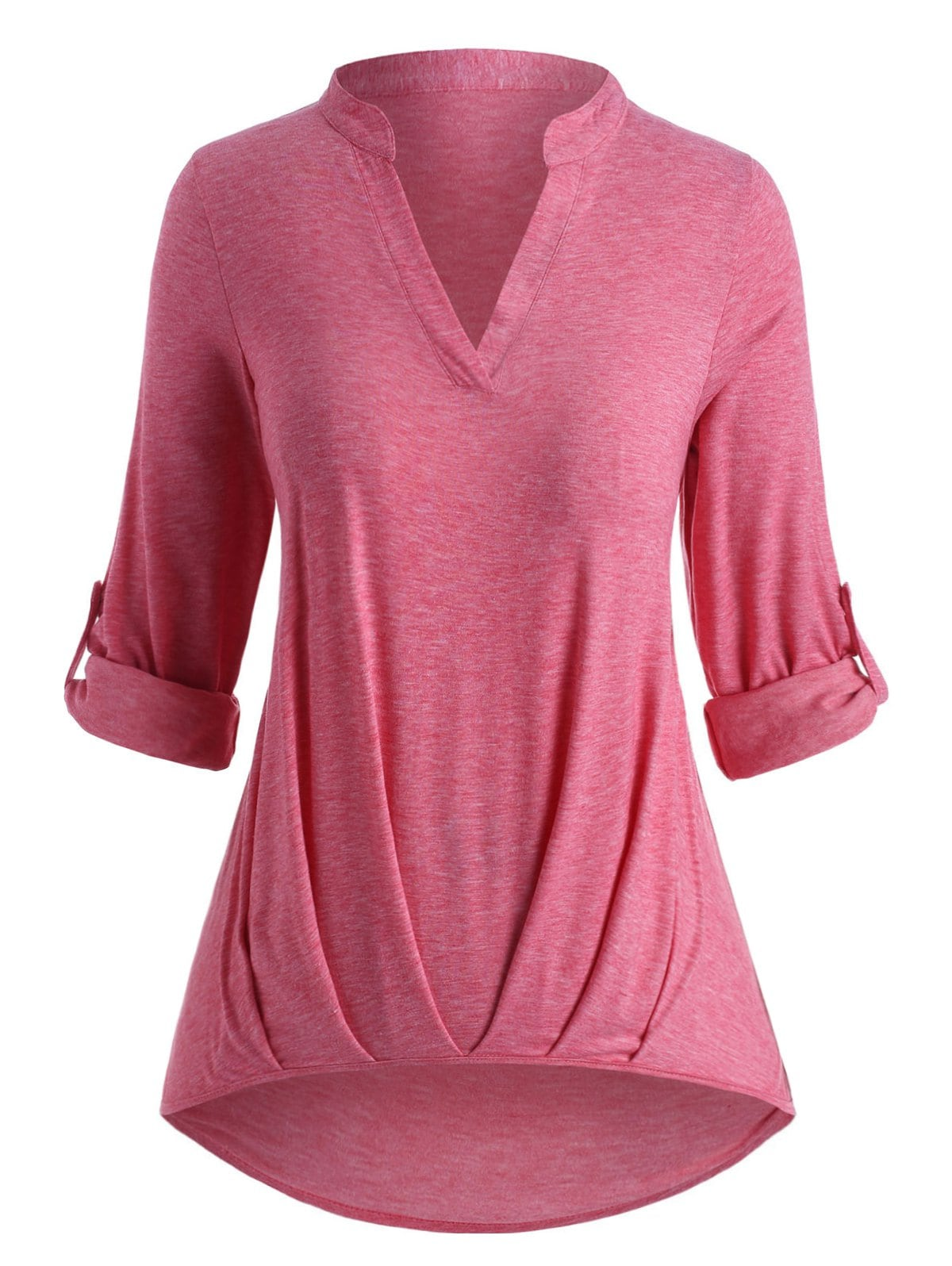 Plus Size Ruched Hem Roll Up Sleeve T Shirt