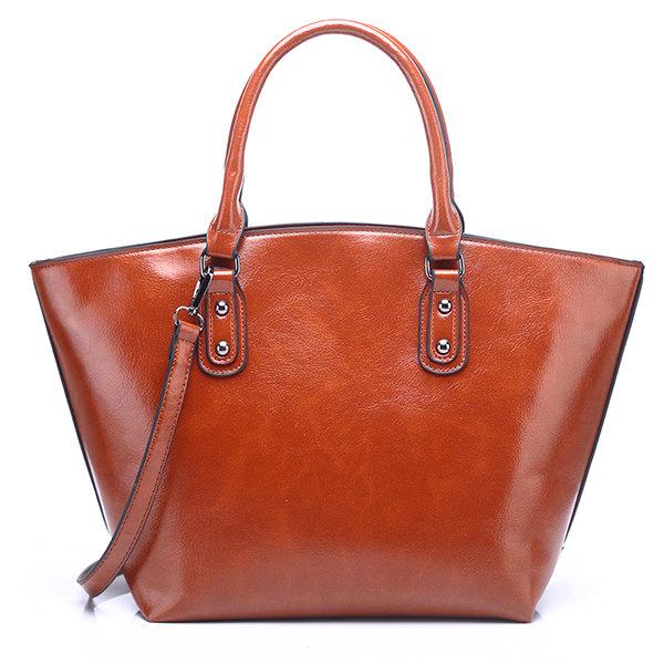 Women Vintage PU Leather Pure Color Bucket Bag Shoulder Bag Crossbody Bags