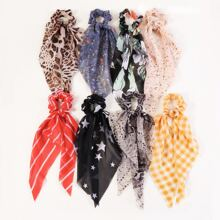 8 piezas pañuelo goma de pelo con patron de estrella