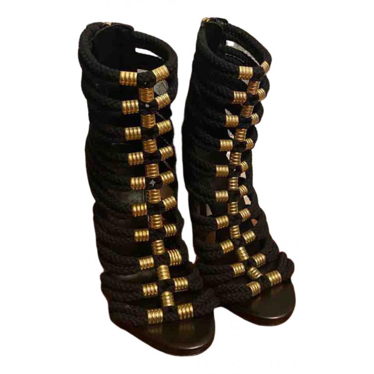 Balmain N Black Cloth Sandals for Women 37 EU