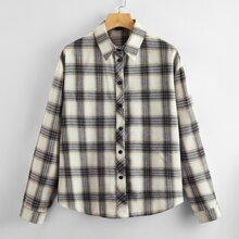 Button Up Plaid Blouse