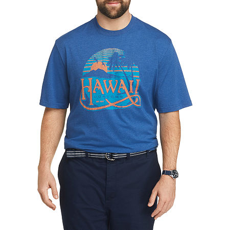 IZOD-Big and Tall Mens Crew Neck Short Sleeve Graphic T-Shirt, 2x-large , Blue