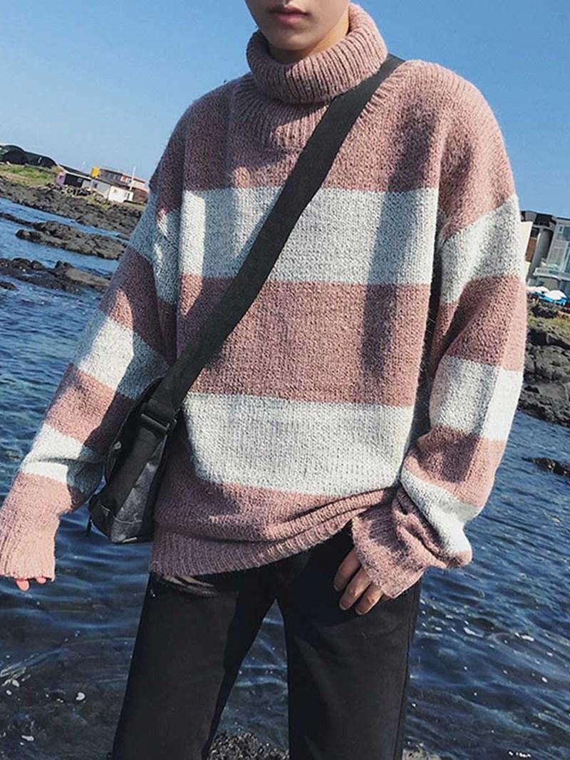 Ericdress Mid-Length Color Block Turtleneck Loose Korean Mens Sweater